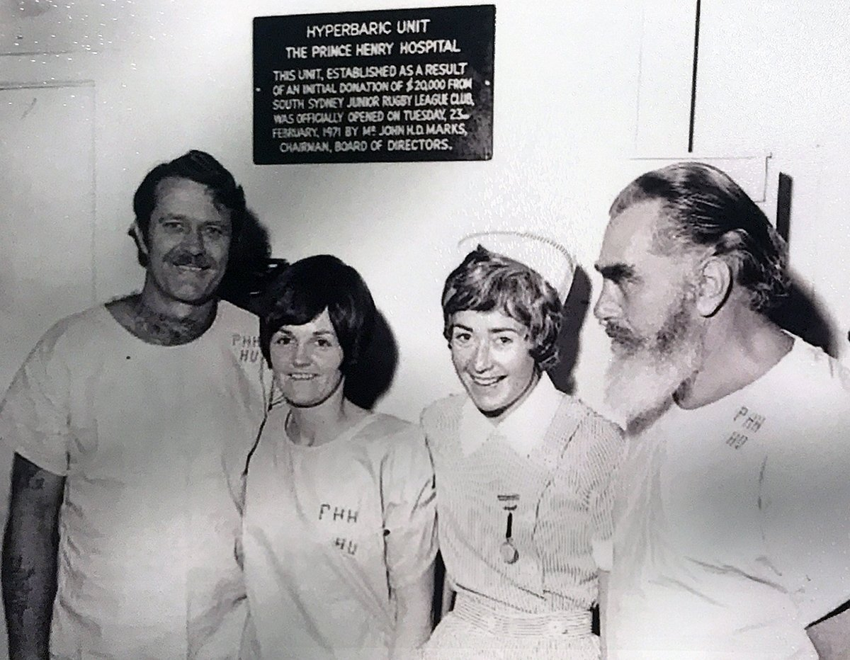 1971, the Hyperbaric team: Bill Fitzgerald, Marie Nash, Colleen Calson and Nobby Clark.