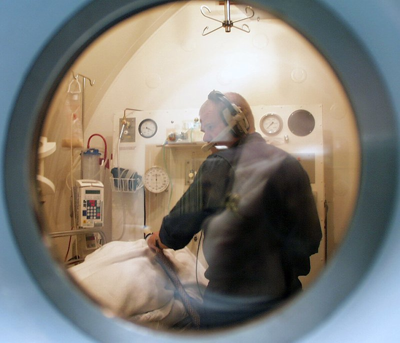Inside the hyperbaric chamber at POW