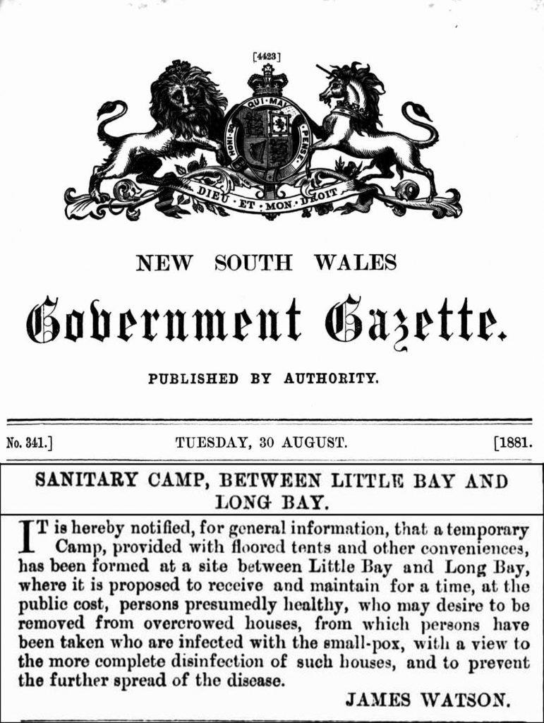 1881 Government Gazette announcing establishment of Coast Hospital Little Bay