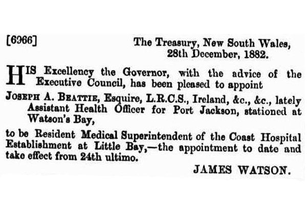 Newspaper Clipping 1882 Beattie announced as medical superintendant