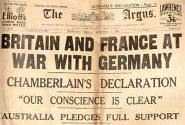 Newspaper Clipping 1914 Britain and France at war with Germany