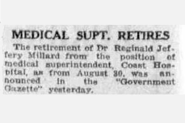 Newspaper Clipping 1933 Medical Super Miller retires