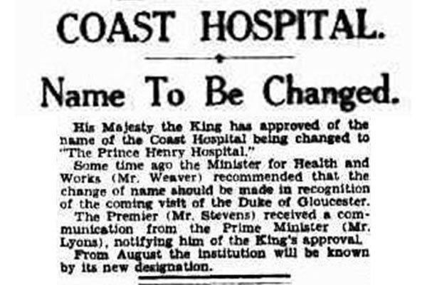 Newspaper Clipping 1934 Coast Hospital name change to Prince Henry Hospital