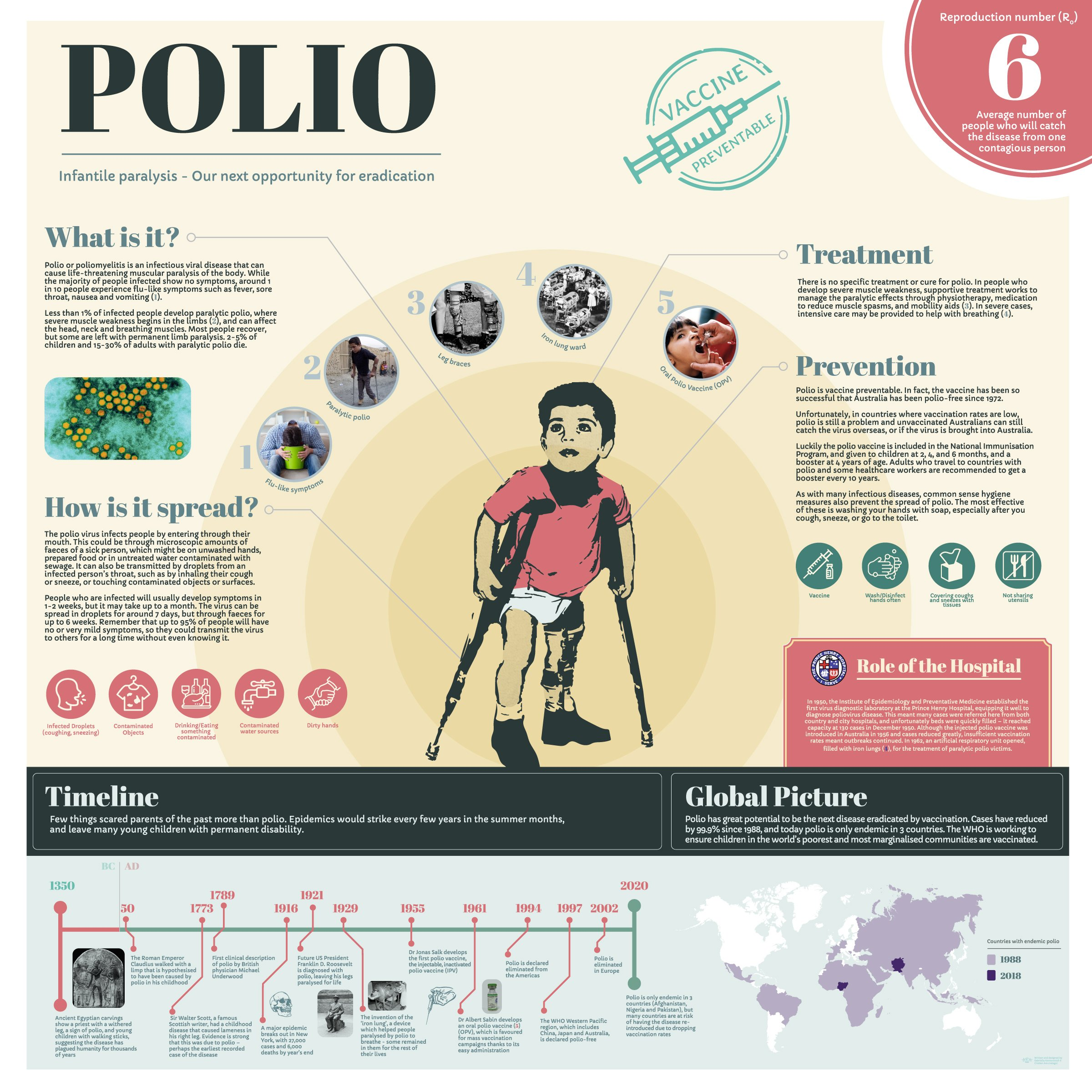 Bravery bandages and bedpans Infographic Polio