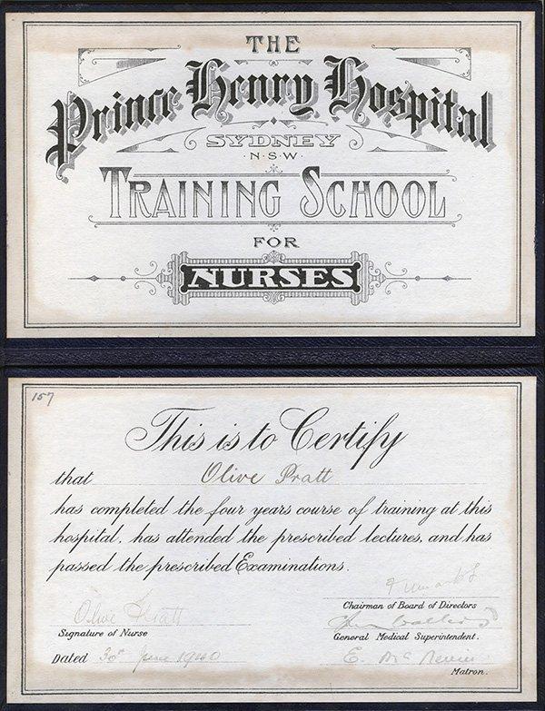 Olive Pratt certificate 1940, Prince Henry Hospital