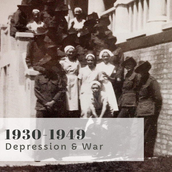 Bravery Bandages and Bedpans title 1930-1949 Depression and War