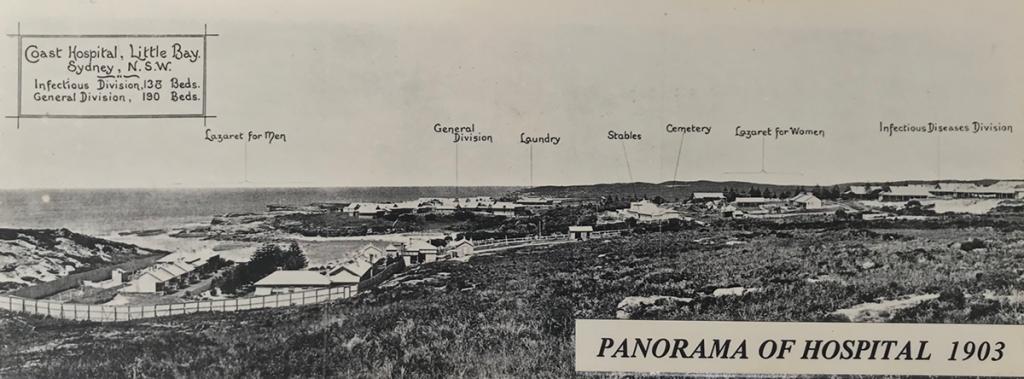 1903 panorama of coast hospital little bay