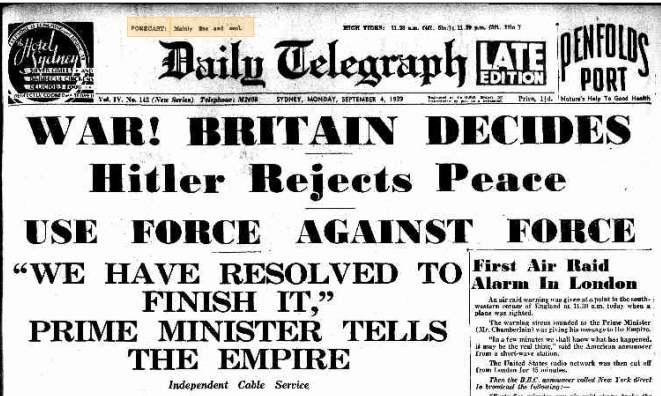 1939 War with Germany Declared